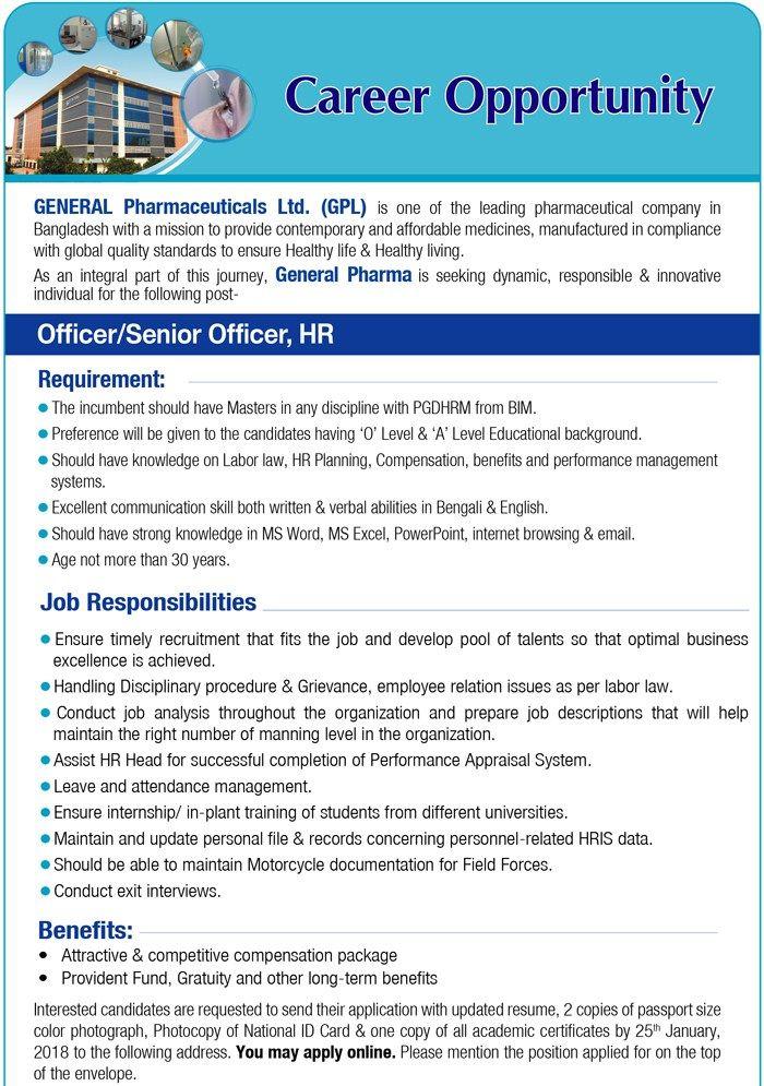 General Pharmaceuticals Ltd Job Circular 2018-Officer,Sr