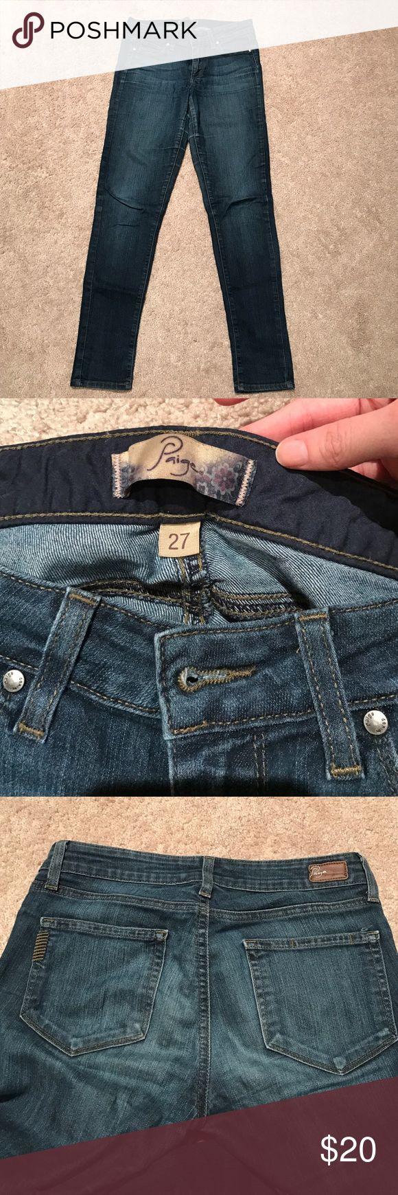 Paige Premium Denim Dark Wash Skinnies Still look great but worn. Small hole where inner thighs touch. Super dark wash Paige Jeans Jeans Skinny