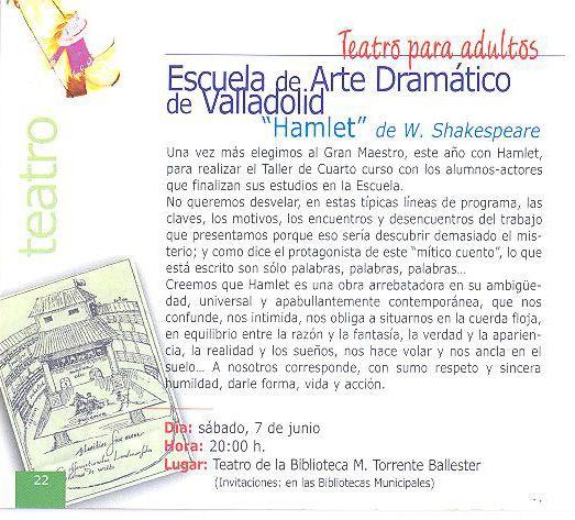 Teatro para adultos. Escuela de Arte Dramático de Valladolid. Hamlet. JUnio 2003