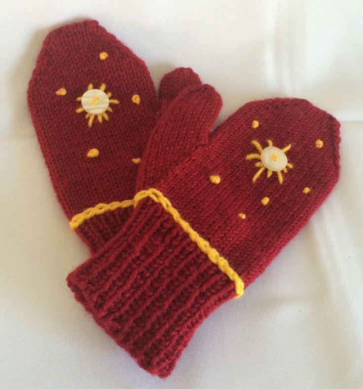 Knitted Mittens Knit Mittens Red Knit Mittens Hand Knit Mittens Hand Knit Mitts Mitts for Teens Red Yellow Mittens Hand Made Mittens - pinned by pin4etsy.com