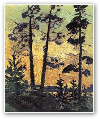 "Tom Thomson - ""Pine Trees At Sunset"""