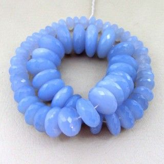 9-21mm - AA Natural Blue Chalcedony Faceted Rondelle Bead Strands