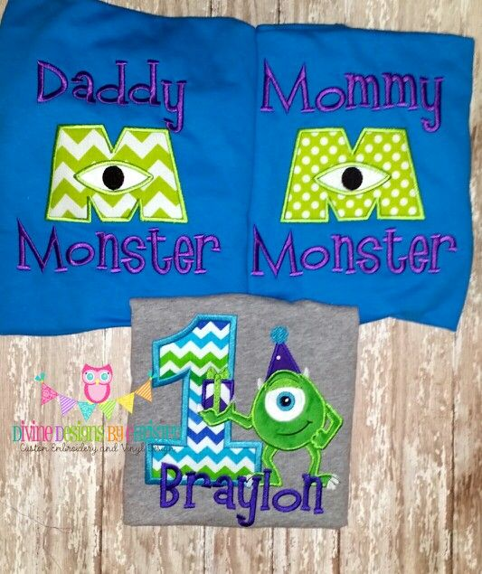 Monsters Inc birthday shirt with matching mommy and daddy shirts  www.facebook.com/divinedesignsbychristen