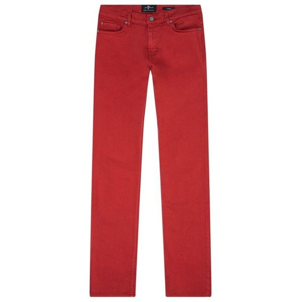 7 For All Mankind Ronnie Luxe Performance Skinny Jeans ($250) ❤ liked on Polyvore featuring men's fashion, men's clothing, men's jeans, mens red skinny jeans, mens skinny fit jeans, mens red jeans, mens super skinny jeans and 7 for all mankind mens jeans