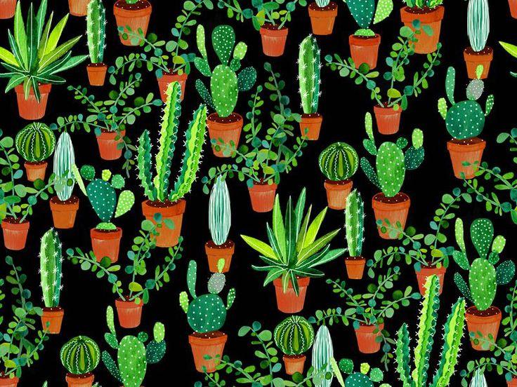 We LOVE this watercolour succulents &- cactus print wallpaper ...
