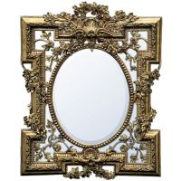 Florette Gold Gilt Leaf Bevelled Wall Mirror