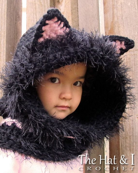 CROCHET PATTERN - The Cat's Meow Hood & Cowl - a Kitty Cat Hood w/ Cowl in 3 sizes (Toddler, Child, Adult) - Instant PDF Download