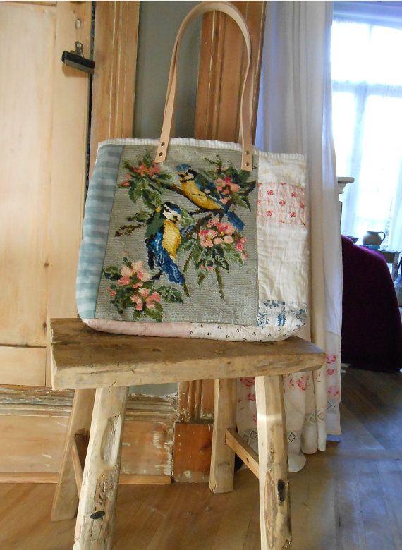 Artisans Shoulder bag, Quirky. patchwork, tapestry, birds, vintage, picnics…