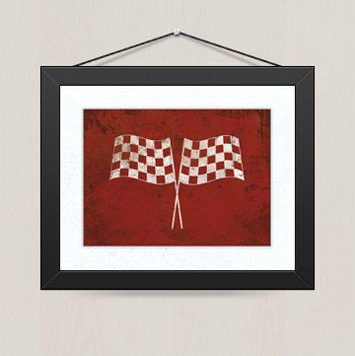 Vintage Race Flags - Distressed Vintage Look Race Car Flag Print - Children Nursery Playroom Artwork. $14.00, via Etsy.
