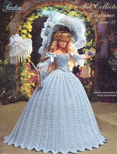 1790 English Country Costume fits Barbie Doll Paradise #57 Crochet PATTERN NEW