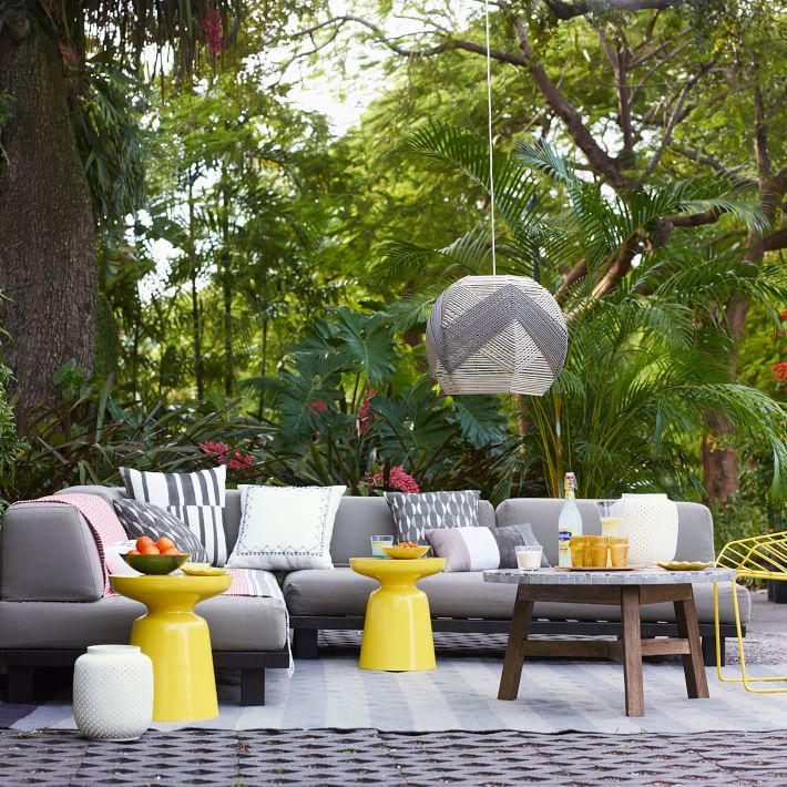 One sofa, endless summers. Our modular Tillary Outdoor Seating includes weighted back cushions that allow you to arrange your seating multiple ways, so you can face the pool by day and the patio by night. Built with sustainably harvested wood, this is seating you can feel good about.
