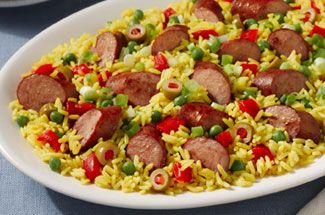 Pan-Seared Sausage with Yellow Rice