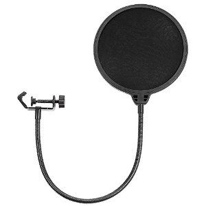 Amazon.com: Neewer NW(B-3) 6 inch Studio Microphone Mic Round Shape Wind Pop Filter Mask Shield with Stand Clip (Black Filter): Musical Instruments