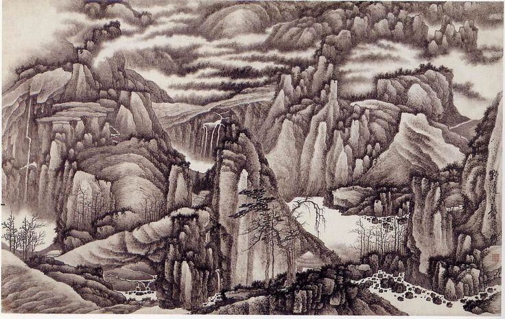 One thousand of peaks and a myriad of gorges - Gōng Xián 龚贤 (c. 1617-1689). Qing dinasty