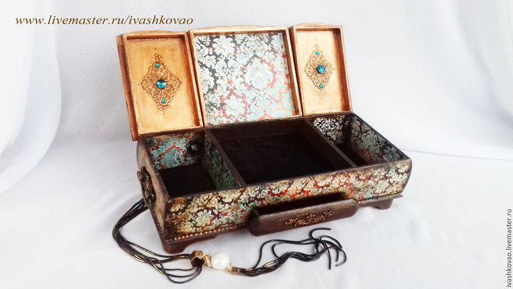 Купить Шкатулка Фюрюзэ2 - бирюзовый, шкатулка, шкатулка для украшений, шкатулка ручной работы, шкатулка-триптих