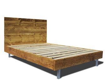 Marco de la plataforma de cama y cabecero con patas metálicas - cama moderna - cama de plataforma de moderno y rústico marco - cama de Metal moderno marco