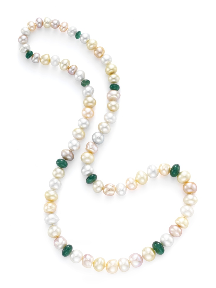 Taffin. A South Sea, Tahitian, Freshwater Pearl & Emerald Bead Necklace, by Taffin.   Available at FD. www.fd-inspired.com