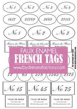 Faux enamel French tags - Dreams Factory