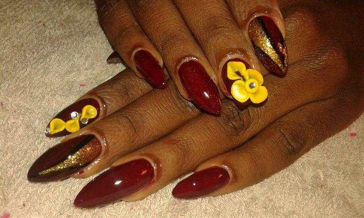 Nails #Bordeaux #Floral #Yellow