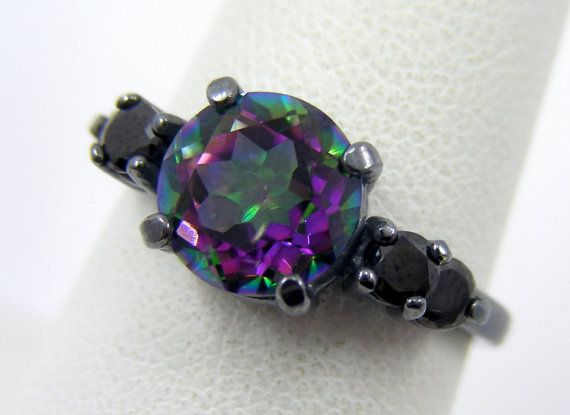 Gothic Engagement Ring | 2Cts Mystic Rainbow Topaz With Double Black Side Accents In Oxidized Black Sterling Silver Ring Size 4 5 6 7 8 9  From