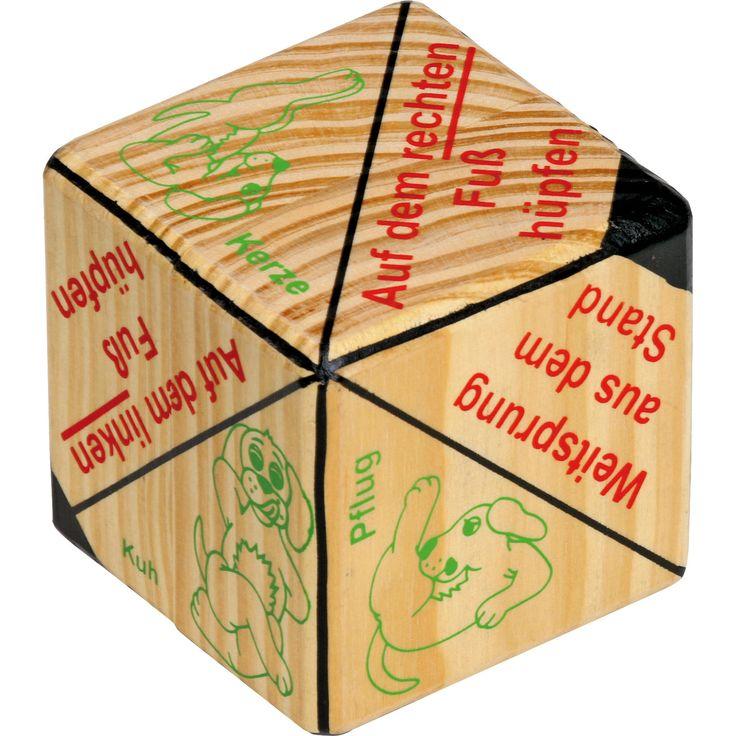 """Jucăria din lemn """"Cubul pentru Exerciții fizice"""" învinge plictiseal celor mici. Realizat din lemn masiv, pe fiecare față a cubului sunt afișate exerciții fizice, în total 12. Acesta este potrivit atât celor mici, cât și adulților!"""