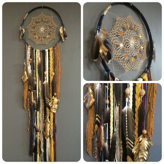 Boho Glam Large Dreamcatcher with Indigo and Gold by Rachael Rice: http://cosmicamerican.etsy.com