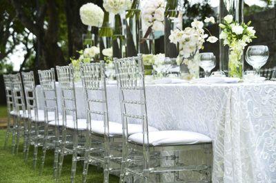 White Swirls Table Cloth Clear Tiffany Chairs White Wedding Table Setting