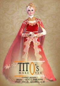 """""""Kebaya Merah"""" terlihat mewah dengan perpaduan merah dan nude.  Make Up untuk Photo Shoot, Wedding Day, ect."""