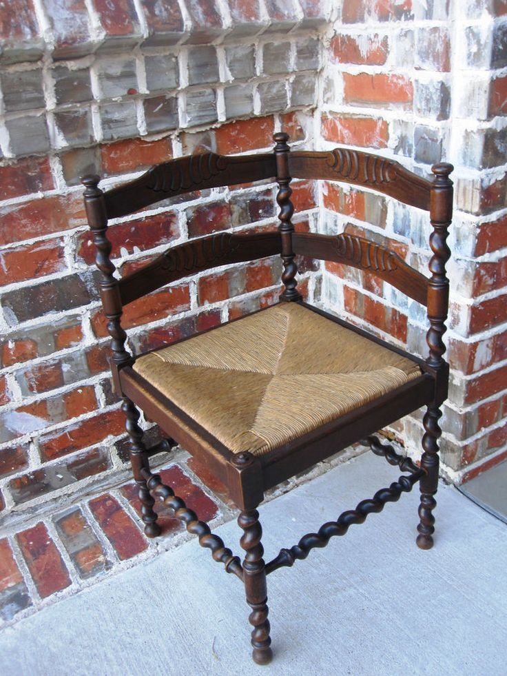 Antique French Country Dark Oak Barley Twist Ladder Back