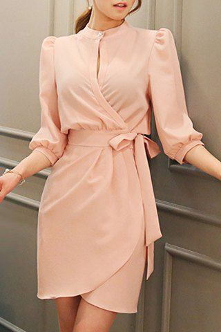 Solid Color Lace-Up Elegant Stand Collar 3/4 Sleeve Dress For Women
