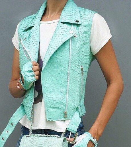 SALE! 20% OFF!  Leather vest. Natural Python leather vest. All seasons leather  vest. Short leather vest. Biker vest. by StudioANTU on Etsy