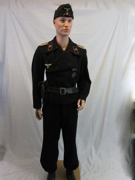 b400165b210 WWII German Officers Black Panzer Wrap Field Jacket