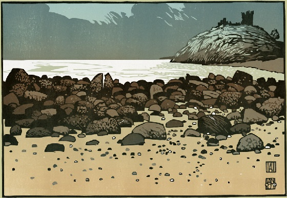 """Ian Phillips, """"Criccieth Castle"""", linocut original, 545 x 380mm, Edition of 6, Hand printed with water based inks on Japanese Hodomura paper"""