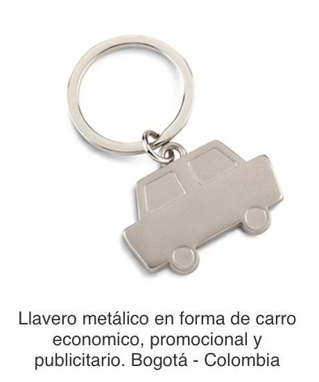 Llavero metálico en forma de carro. Tipo de Producto: IMPORTADO.  Medidas: 4 cm x 2.5 cm (La medida no incluye la argolla). Área de Marca: 2 cm Técnica de Marca: Láser Colores Disponibles: Silver.