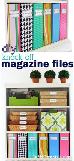 Transform boring magazine files with color.  Plus free printable labels.  Step by step photo tutorial