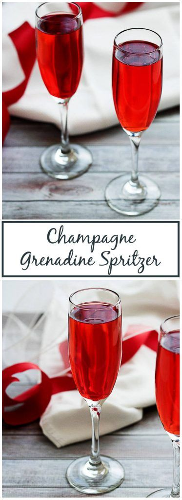 Champagne grenadine spritzer is an elegant yet simple and refreshing beverage made with bubbly Pink Moscato champagne and cherry flavored grenadine. via @berlyskitchen