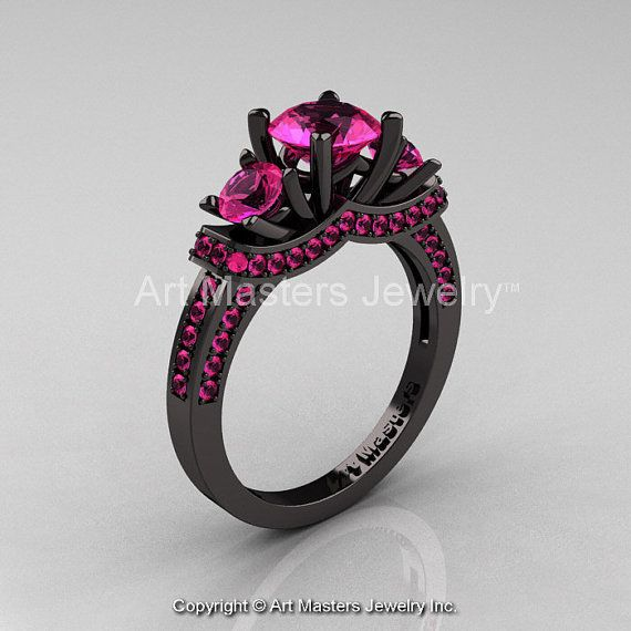 French 14K Black Gold Three Stone Pink Sapphire by artmasters, $1749.00