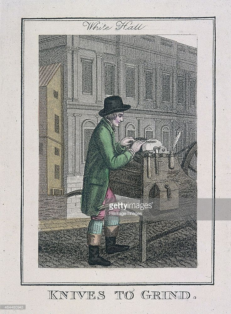 'Knives to Grind'. A knife grinder sharpening a knife on Whitehall. From Cries of London, 1804.