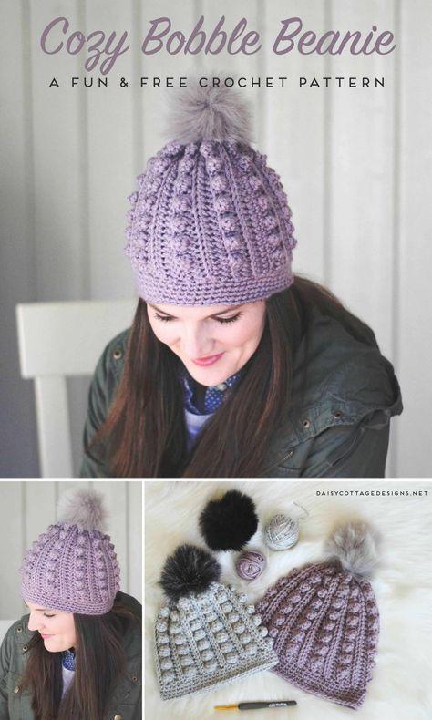 Bobble Beanie Crochet Pattern Pinterest Hat Crochet Free