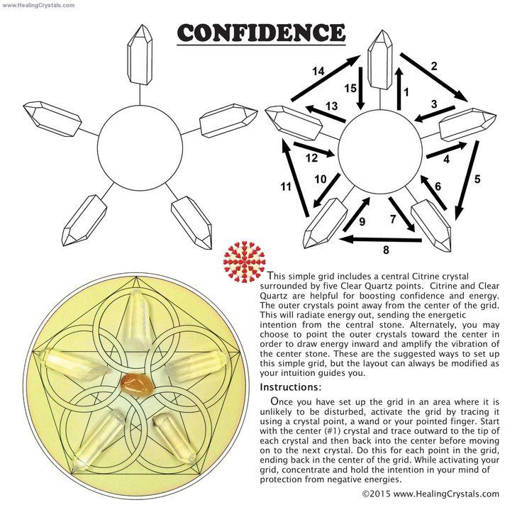 Grid Kit - Confidence Grid Kit w/Citrine (9pcs.)- Citrine - Healing Crystals