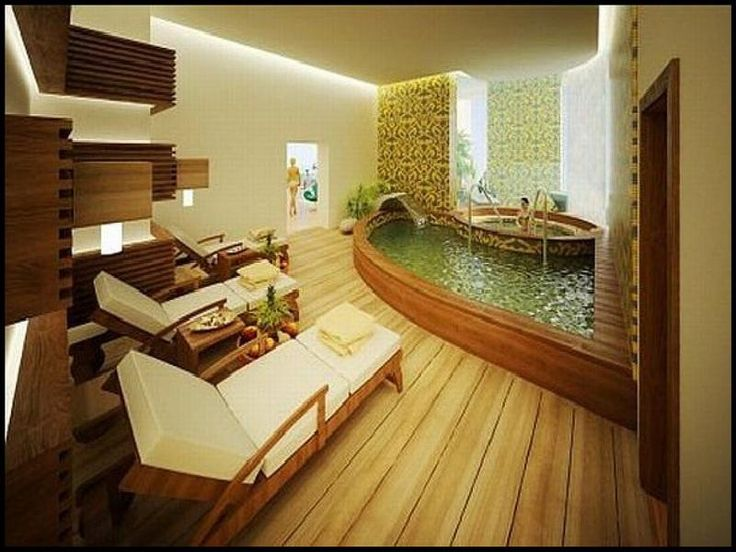 Home Spa Designs With Lounge Chair And Wooden