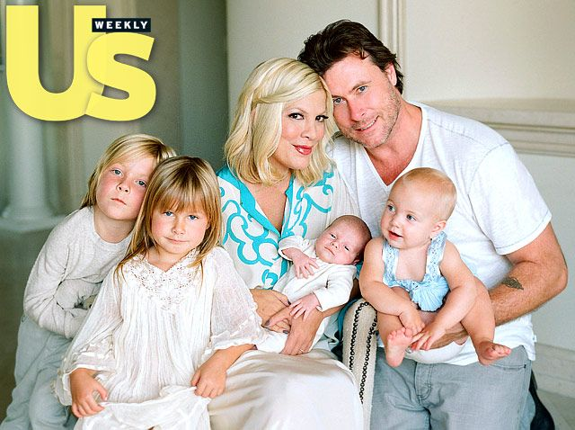 Tori Spelling and Dean McDermott gathered with Liam, Stella, Finn and Hattie in their Westlake Village, California, home September 27.