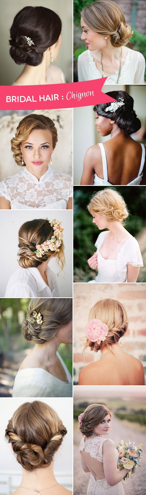 The Best of Bridal Chignon Hairstyles - We've picked 14 gorgeous options and found DIY instructions too | www.onefabday.com