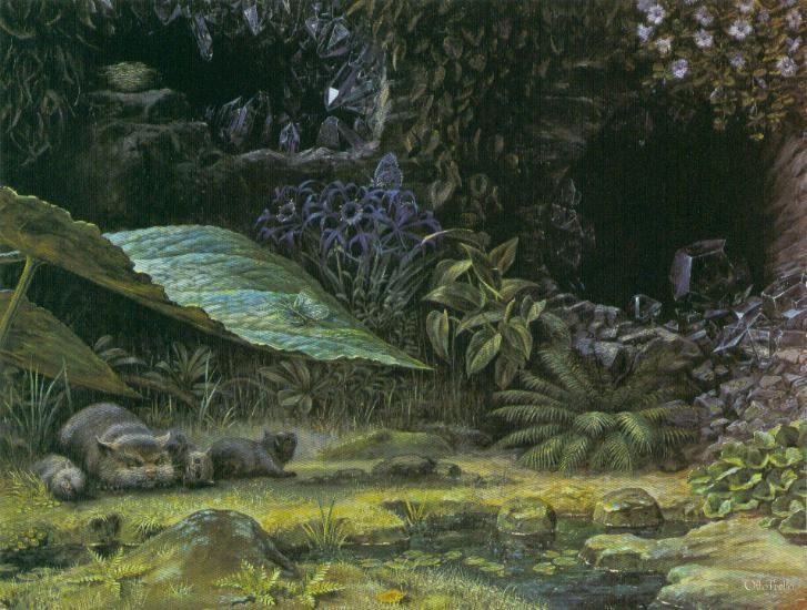 Otto Frello, Skovbunden. 1986. 66x85 cm.