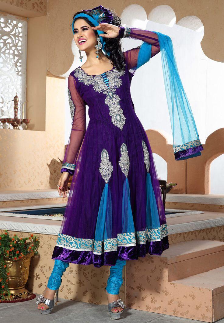 Purple Net Anarkali Churidar Kameez Online Shopping: KCR4650