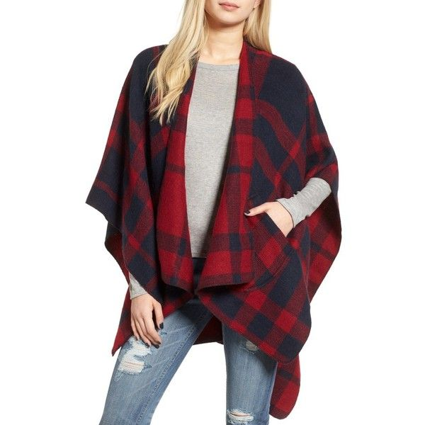 Women's Bp. Buffalo Plaid Cape ($45) ❤ liked on Polyvore featuring outerwear, red, red cape, cape coats and red cape coat