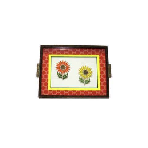 Wooden Sunflower Motif Tray, Orange - FOLKBRIDGE.COM | Buy Gifts. Indian Handicrafts. Home Decorations.