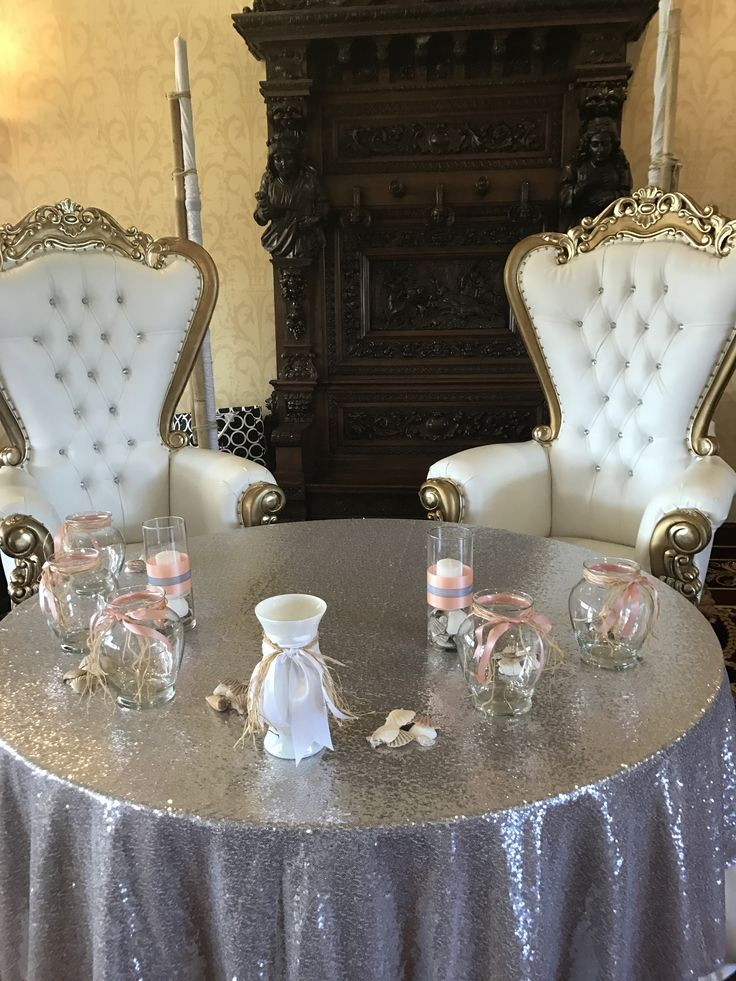 Thrones fit for the King and Queen with the glam of silver sparkle at Chelsey and Charles' beach themed wedding at White Clay Creek Country Club.