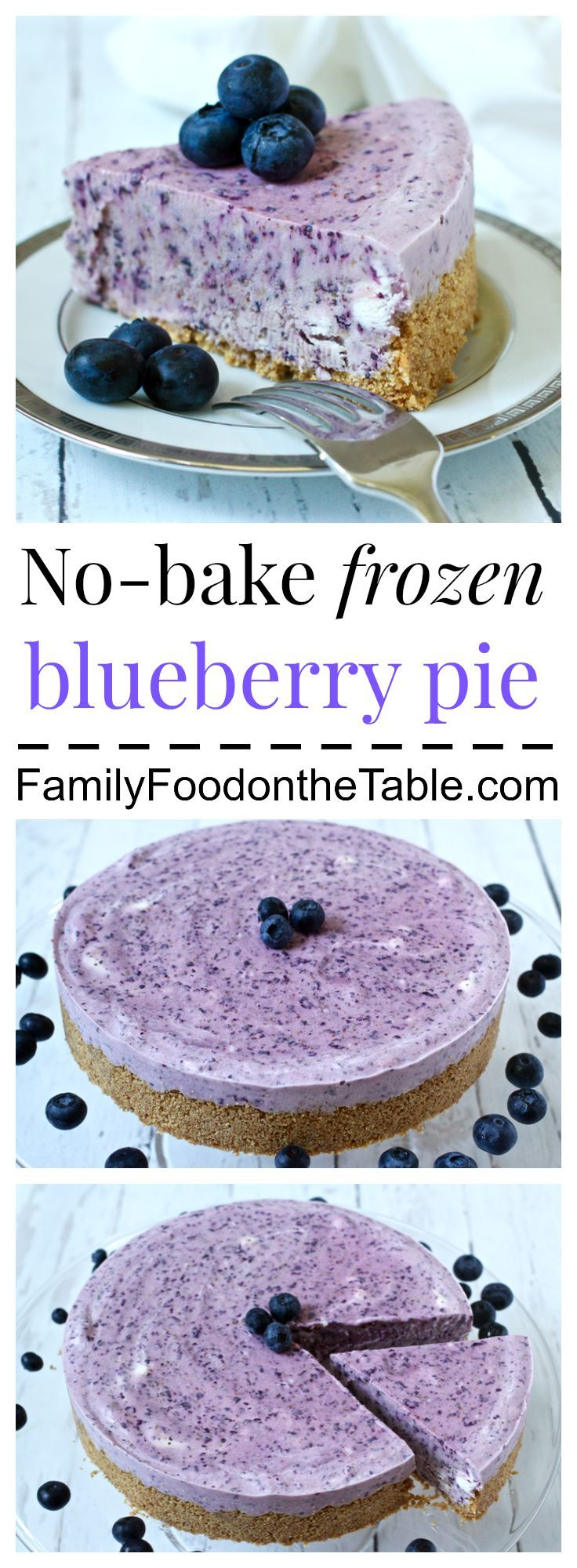 A creamy, no-bake frozen blueberry pie, perfect for summer! | FamilyFoodontheTable.com