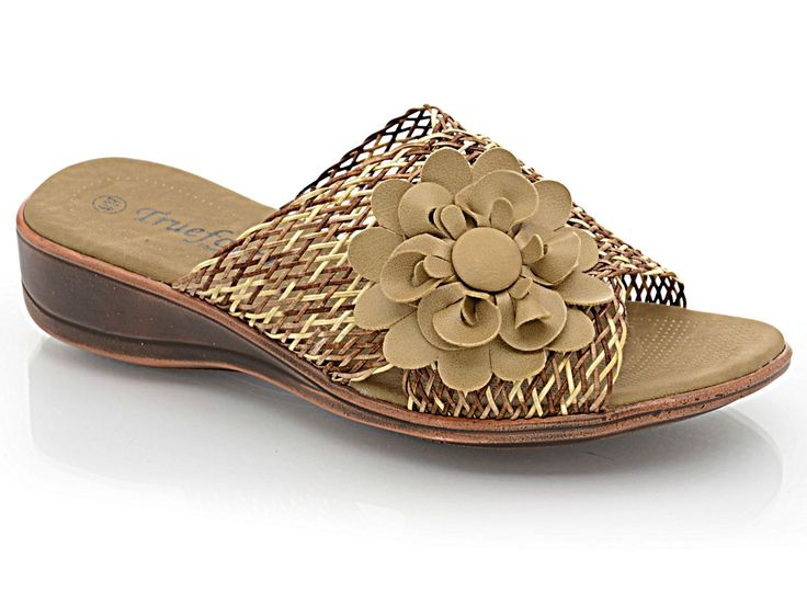 Ladies TrueForm Low Wedge Mesh Peep Toe Mule Flower Slip On Summer Sandal Shoe | eBay